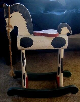 Rare Antique / Vintage Child Handmade Primitive Wooden Rocking Horse! Tall Legs