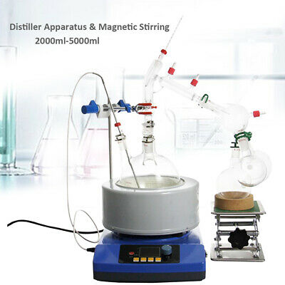 2L-5L Essential Oil Distiller Short Path w/ Magnetic Stirring Heat Kits 24/40