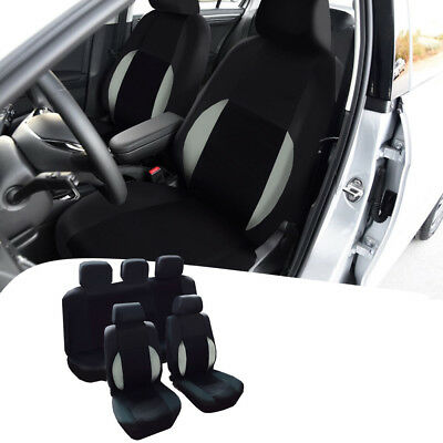 PU Leather Gray & Black Breathable Mesh Solid Car Seat Covers For Four Seasons