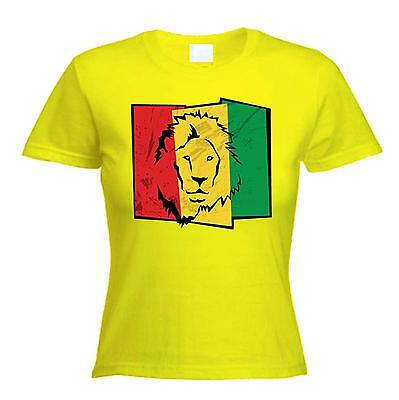 578a7223 LION OF JUDAH FLAG WOMENS T-SHIRT - rasta reggae bob marley, cannabis,