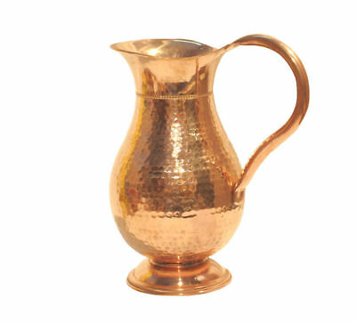 Indian Pure Copper Jug 1000 ML Water Storage Health Benefit Ayurveda Pitcher New