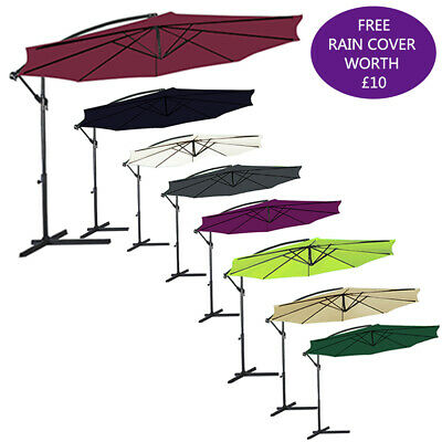 3M Garden Parasol Sun Shade Outdoor Patio Cantilever Hanging Banana Umbrella UK