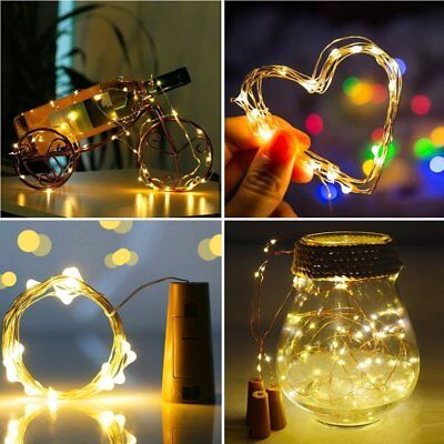 10X 2M 20 LED Wine Bottle Fairy String Light Cork Starry Night Lamp Xmas Wedding