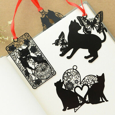 2Pcs Black Cat Metal Hollow Bookmark Holder Paper Marker Stationery Supplie Wy