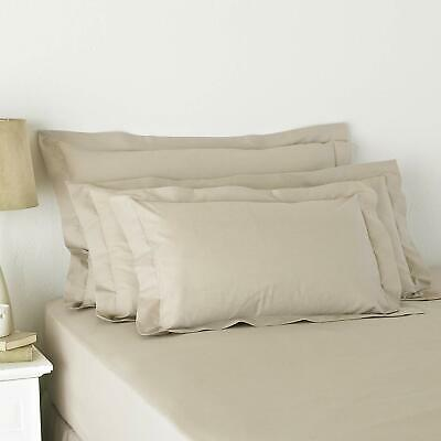 Oxford Pillowcase Pair Poly Cotton Percale 180 Thread Count White Ivory Grey