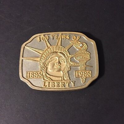 Vintage Silver & Gold Tone 100 Year of Liberty Statue Of Liberty Belt Buckle
