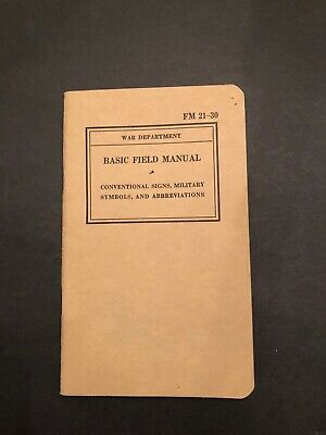 WWII 1939 FM 21-30 Conventional Signs Military Symbols ORIGINAL VG