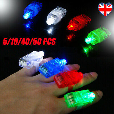 5/10/40/50pcs LED Finger Lights Party Disco Halloween Glow Ring Light up Toy