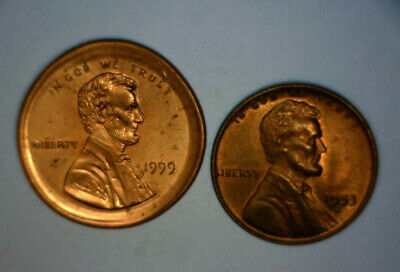1999 Lincoln Cent, Double Struck, Broad Strike, Double Profile, Us Error Coin