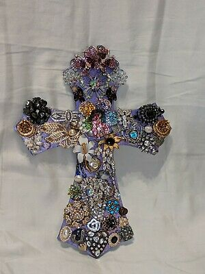 Large Cross Wall Decor Embellished With Repurposed Vintage