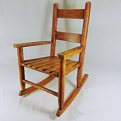 Vintage Childs Rocking Chair Solid Wood Crafted 1960 Era