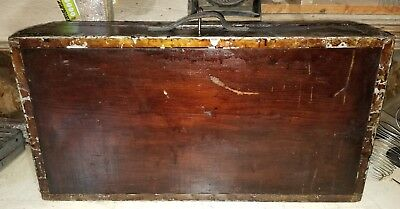 PRIMITIVE RARE ANTIQUE TOOL MAP DOCUMENT BOX WOOD , CHEST TRUNK SHIP. With Key!