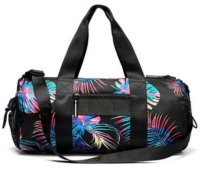 d21495cc84c935 Victoria's Secret Pink Bungee Pocket Midnight Tropical Sport Gym Duffle Bag  NIP