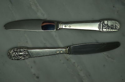 Pair Of Very Old Antique Sterling Silver Knives With Denmark Designs #11329