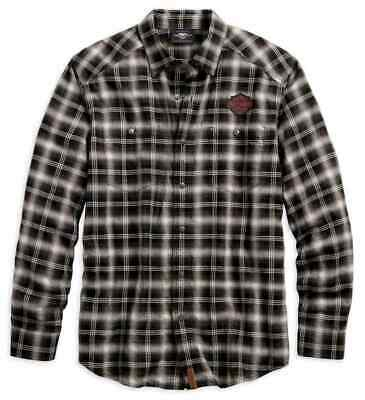 96584-19Vm Harley-Davidson Men's Herringbone Plaid L/S  Shirt  ** New**