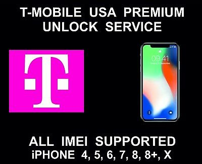 T-Mobile USA Premium iPhone Unlock Service, fits iPhone 4, 5, 6, SE, 7, 8, 8+, X