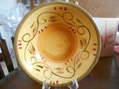 "Italian Villa Cereal Soup Salad Bowl (s) 8 1/4"" Home Trends Ceramic? Yellow Red"