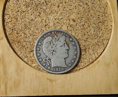 1912-D 50C Barber Half Circulated Condition 90 % Silver US Coin #1103 F+/VF