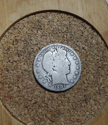 1901 P 50C Barber Half  Circulated  90 % Silver US Coin  BH228 FREE  SHIPPING