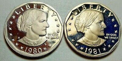 1981-S T1 Clear 'S' 1979-S T1 Filled 'S' Susan B. Anthony Dollar Proof DCAM BU