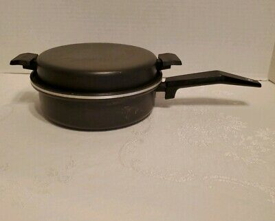 """MIRACLE MAID BLACK ANODIZED ALUMINUM SAUCEPAN 8"""" WITH dome stackin LID WEST BEND"""