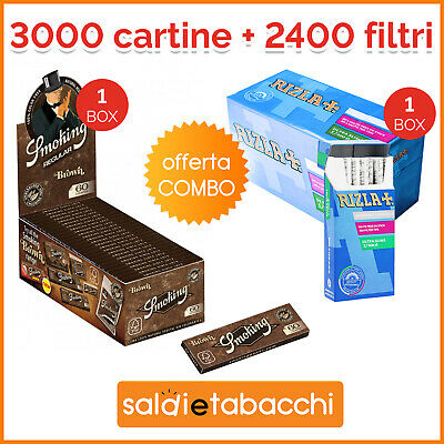 3000 Cartine Corte Smoking Brown Senza Cloro + 2400 Filtri Rizla Ultra Slim