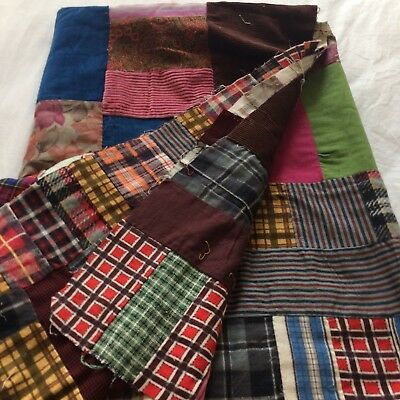 "Vtg quilt top scrap block patchwork hand pieced vintage fabrics 70x47"" funky"