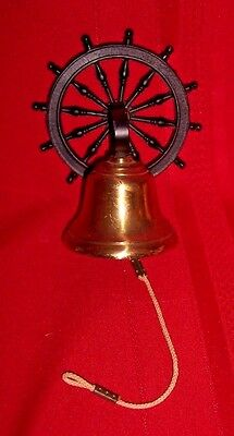 Vintage Cast Iron SHIP'S WHEEL AND BRASS Bell Wall Mount W GONG MADE IN ENGLAND