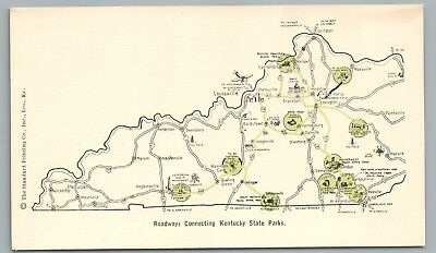 "Kentucky Road Map ""State Parks"" RARE Antique PC Mammoth Cave—Cumberland KY 1920s"