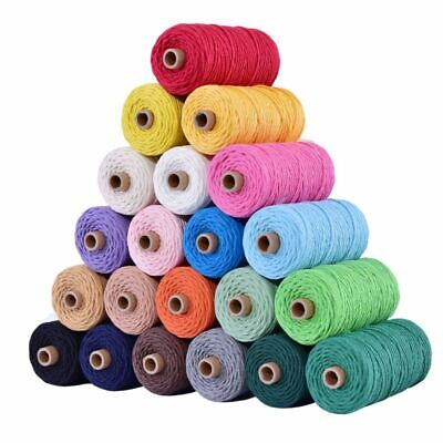 3mm 100% Cotton Cord Colorful Cord Rope Twisted Craft Macrame String 110yards