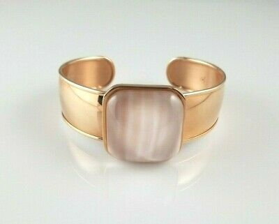 Honora Pink Mother of Pearl Statement Bracelet Cuff Bronze Rose Tone Italy Squar