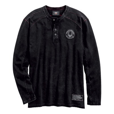 96587-19Vm Harley-Davidson Men's Special Wash Henley L/S Knit   *** New***