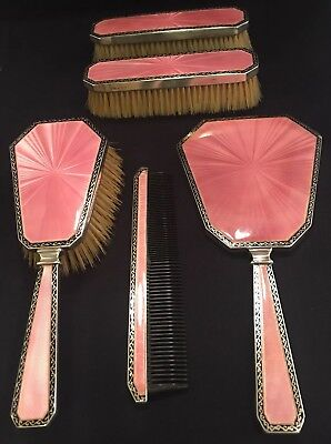 1926 ASPREY Five Piece Vanity Set Sterling With Pink Guilloche Enamel  Exquisite