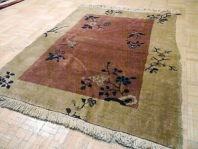 3x4 CHINESE RUG VINTAGE ART DECO NICHOLS AUTHENTIC HAND-MADE ORIENTAL RUG 1960s