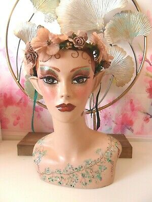 Woodland Nymph hand painted mannequin head and shoulders