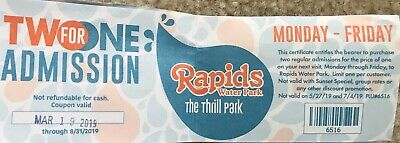 Rapids Water Park Riviera Beach Ticket Buy One Get One (3 Available)