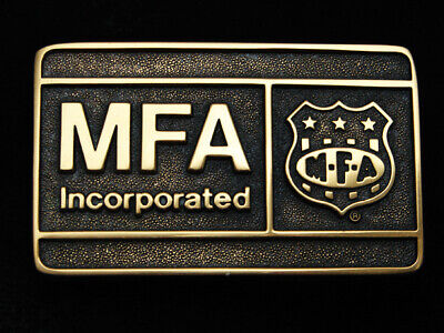 Qb07109 *Nos* Vintage 1981 **Mfa Incorporated** Insurance Co. Solid Brass Buckle