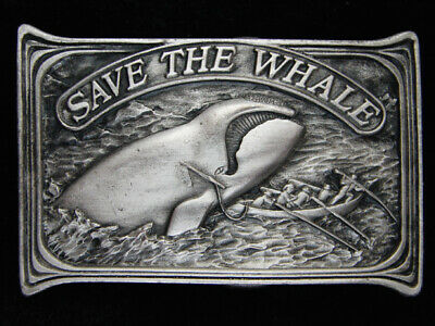 Qe07165 *Nos* Vintage 1976 **Save The Whale** Pewter Bergamot Belt Buckle