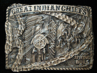Pg15162 *Nos* Vintage 1983 *Great Indian Chiefs Sitting Bull* Solid Brass Buckle