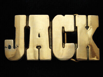 PD17172 *NOS* VINTAGE 1970s CUT-OUT NAME **JACK** SOLID BRASS BARON BELT BUCKLE