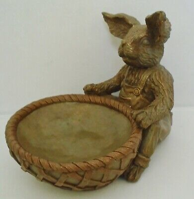 Bunny Rabbit French Country Primitive Decor Resin Bronze Basket Dish  Candy