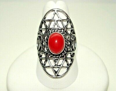AB Red Coral Unique Spider Web Star Setting Ring .925 Silver 7.5 One-of-a-Kind
