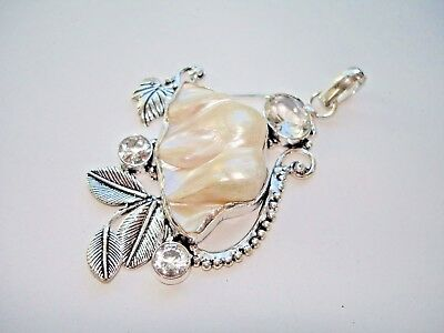"""AB Summer White Agate Cabochon .925 Silver 9-Station Necklace 28-36/"""" Clasp"""