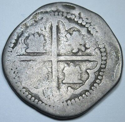 1500's Spanish Silver 2 Reales Piece of 8 Cob Real Colonial Pirate Treasure Coin