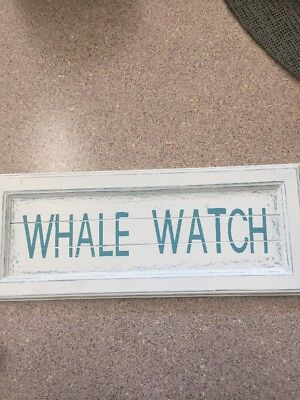 "Whale Watch Nautical 20""x8"" Wooden Sign Decoration"