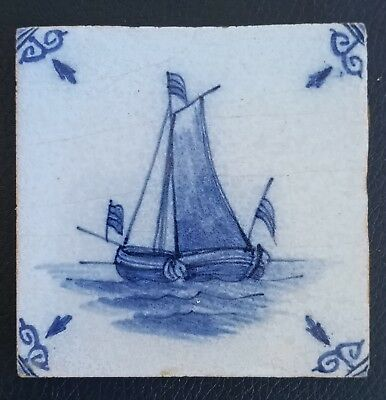 Antique Dutch Delft Blue Ceramic Tile Ship Boat Under Sail