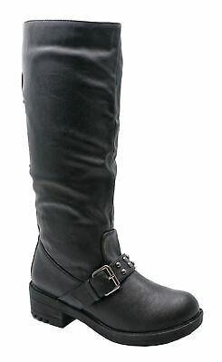 Womens Black Biker Riding Rock-Chick Flat Comfy Smart Casual Boots Shoes 3-8