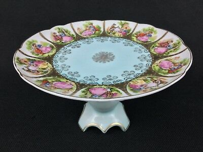 """Arnart Love Story Courting Couples Fragonard ONE 9"""" Tazza Compote Pale Blue Gold"""