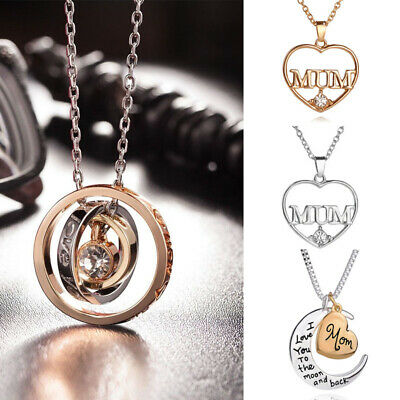 Mum Gold Crystal Necklace & Pendant NEW* Birthday Christmas Mothers Day Gift