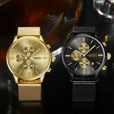 LIANDU Mature Men's Luxury Stainless Steel Watch Analog Quartz Dress WristWacch
